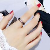 日韓潮人鍍18K金鈦鋼食指戒指女 大氣時尚個性指環學生網紅不掉色