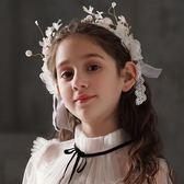 兒童頭飾兒童發飾女童百搭花環頭飾發箍女孩生日頭花飾品花童公主發帶頭箍 嬡孕哺