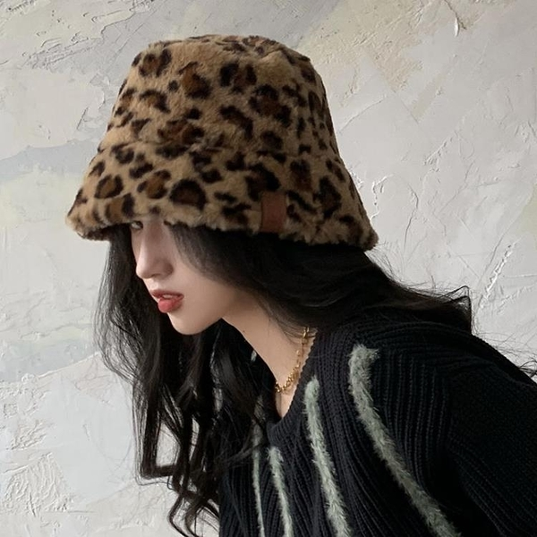 2021新品促銷 豹紋帽子女秋冬新款百搭時尚復古韓版漁夫帽毛絨保暖盆帽水桶帽