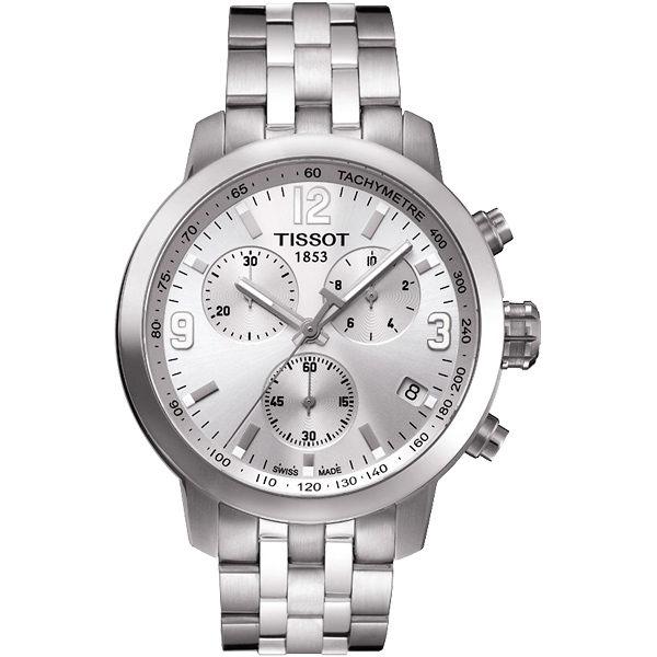 TISSOT 天梭 PRC200 競速三眼計時手錶-銀 T0554171103700