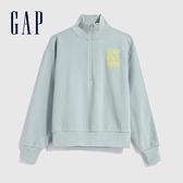 Gap女裝 Logo簡約風半拉鍊上衣 624769-淡藍色