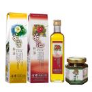【金椿油品】紅花大果(500ml/瓶)+茶葉綠菓(500ml/瓶)+茶油椿菇醬(250g/瓶)