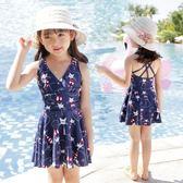 女童泳衣 女孩寶寶中大童防曬連體裙式韓版泳衣LJ8965『小美日記』