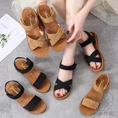 牛筋軟底一字涼鞋夏季鞋子百搭魔術貼韓版沙灘鞋平底女鞋【貼身日記】