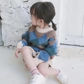 兒童圓領拼色針織衫2018秋冬新款女童菱形格寶寶套頭毛衣