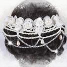PNS3-0053典雅婉約~新娘秘書.結婚晚宴.頭飾.髮飾.珍珠蕾絲花朵(綁帶式)+耳環 [46652]