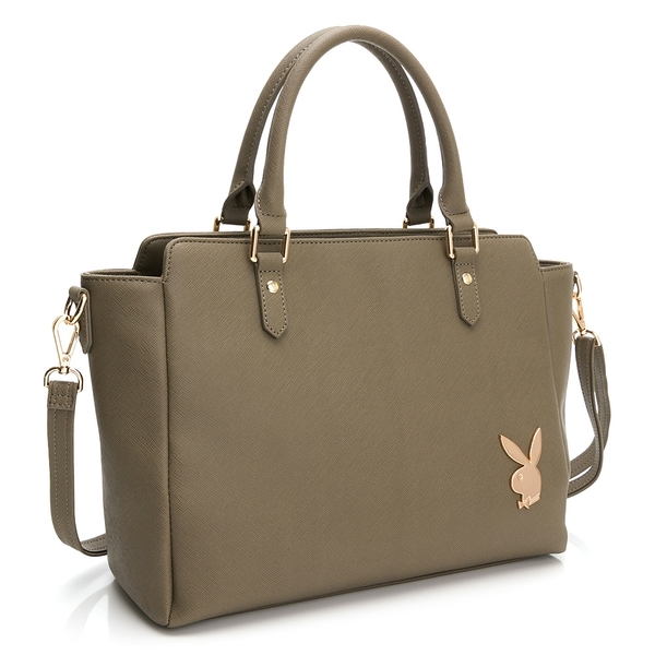 PLAYBOY- 手提包可斜背 經典兔頭系列-優雅咖
