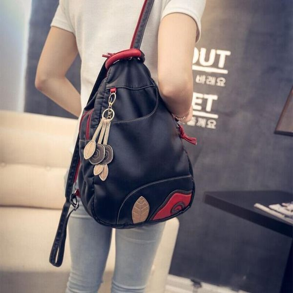 後背包新款韓版潮流水洗皮後背包斜背包女包時尚休閒背包旅行包百搭包包 喵小姐