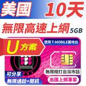 【TPHONE上網專家】美國U方案 10天無限上網+通話+簡訊 前面5GB支援高速 贈送台灣市話