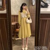 長洋裝 秋季2020新款法式小眾收腰顯瘦中長款喇叭袖氣質長袖洋裝女裙子 聖誕鉅惠