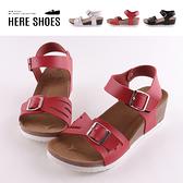 [Here Shoes]零碼39 涼拖鞋-MIT台灣製 可調整扣環造型 純色皮質鞋面 楔型一字涼鞋-AN1041