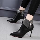 細跟靴短靴女2021年新款時尚水鉆尖頭細跟靴子秋冬季性感百搭高跟馬丁靴 芊墨左岸