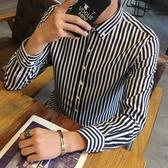 【限時下殺79折】男士長袖條紋襯衫修身襯衣青少年髮型師中大尺碼襯衫