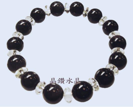 『晶鑽水晶』黑曜石搭配白水晶手鍊 10mm特惠中