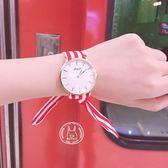手錶 時尚紅黑條紋簡約綁帶手錶 巴黎春天