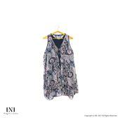【INI】無袖有型、造型下擺雪紡長版上衣.粉色