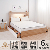 【本木】洛根房間三件組-雙大6尺 床墊+床頭+六抽床底胡桃色