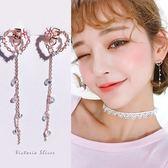 925純銀針  韓國優雅氣質 花朵愛心流蘇 耳環-維多利亞181207