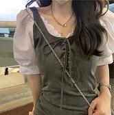 短袖洋裝 清冷高級感 假兩件洋裝夏灰色拼接修身短袖設計感短裙子銹【快速出貨】