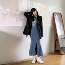牛仔半身裙女設計感高腰a字裙荷葉邊中長款包臀魚尾裙夏 果果輕時尚