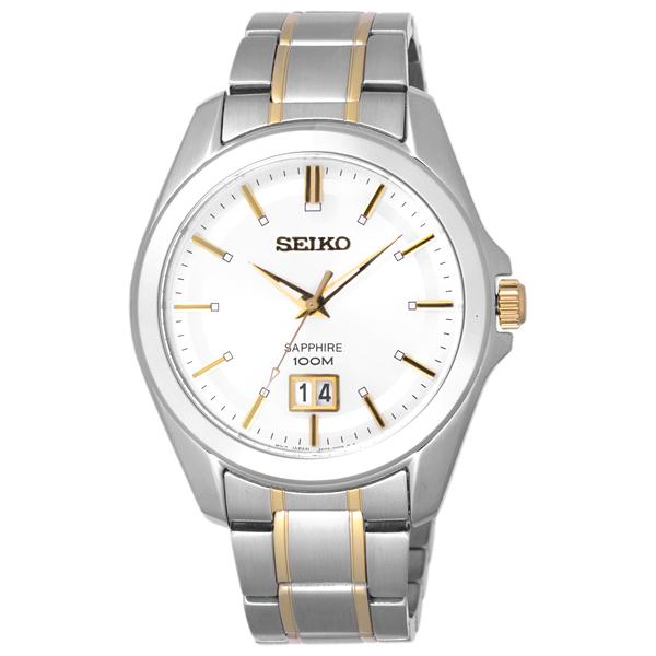 SEIKO 榮耀時刻日期都會腕錶-銀框雙色版-大