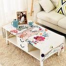 韓式卡通棉麻茶幾桌布長方形客廳布藝茶幾墊...