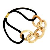韓款 金屬質感鏈條 髮圈 綁頭髮 紮馬尾 橡皮筋 鬆緊帶 髮束 金色【D001】