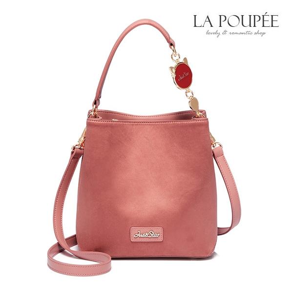 側背包 浪漫莫蘭迪粉麂皮絨水桶包-La Poupee樂芙比質感包飾 (現貨)