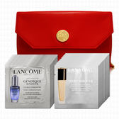 LANCOME蘭蔻 超進化肌因活性安瓶1mlx12+水感奇蹟粉底1mlx12(贈化妝包)