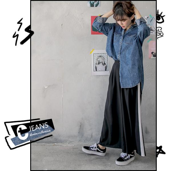 CANTWO JEANS歐美邊條寬口褲-共兩色