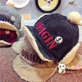 一件82折-寶寶帽子秋冬兒童雷鋒帽燈芯絨加絨護耳帽男女童保暖帽子羊羔毛帽