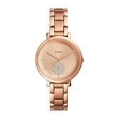 【Fossil】Jacqueline沉醉晶鑽氣泡小秒針時尚腕錶-玫金款/ES4438/台灣總代理公司貨享兩年保固