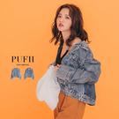 PUFII-牛仔外套 個性壓摺造型丹寧牛...