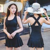 泳衣女保守連體平角大碼裙式小胸遮肚黑色顯瘦學生韓國溫泉游泳裝(818來一發)