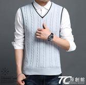 背心 馬甲 男裝毛衣背心馬甲修身外套春秋季男士韓版潮流無袖坎肩薄款針織衫
