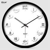 北歐風掛鐘 HICAT瘋小貓創意客廳鐘錶歐式英文數字掛鐘靜音個性時尚壁鐘時鐘 芭蕾朵朵IGO