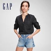 Gap女裝 亞麻素色半開領長袖襯衫 660908-黑色
