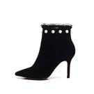 秋冬珍珠蕾絲女靴細跟短靴裸靴英倫馬丁靴拉鏈高跟鞋歐美 - 風尚3C