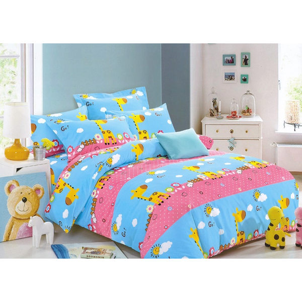 《歡樂小鹿》加大薄床包三件組 100%MIT台製舒柔棉(6*6.2尺)