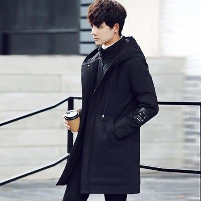 羽絨夾克-連帽戶外防風保暖中長版男外套4色73qb44巴黎精品