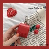 紅色櫻桃AirPods無線藍牙耳機保護套皮質收納可愛【時尚大衣櫥】