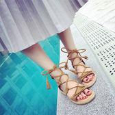 正韓女羅馬涼鞋露趾 平底麻繩繫帶細帶流蘇綁帶涼鞋「青木鋪子」