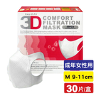 超服貼3D立體口罩(M號9-11cm)(成年女性用) 30片(台灣製造 細菌過濾BFE平均高達95%) 專品藥局