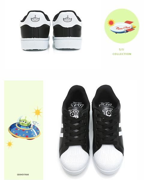DISNEY 神秘登場 三眼怪條紋貝殼小白鞋-黑(DW6111+DB6120)贈同款束口袋