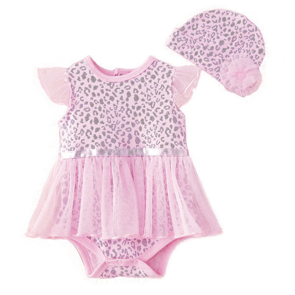粉色豹紋蕾絲紗裙包屁衣+花朵帽子  橘魔法 Baby magic 小童 新生兒 包屁衣 女童
