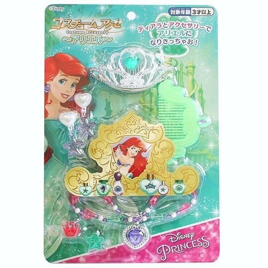 〔小禮堂〕迪士尼 小美人魚 皇冠項鍊首飾玩具組《綠銀.泡殼裝》化妝玩具.兒童玩具 4902923-14756