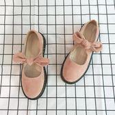 娃娃鞋 春夏季新款圓頭學生小皮鞋女日系軟妹街拍絨面低跟單鞋娃娃鞋粉色