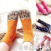 五指襪女 素雅 純全棉中筒可愛卡通分腳指秋冬厚五指襪女襪子透氣 芭蕾朵朵