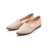 【Fair Lady】 懶骨頭 波紋縫線皮革尖頭平底鞋 象牙