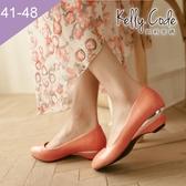 大尺碼女鞋-凱莉密碼-小清新百搭工作鞋好穿楔型低跟鞋3.5cm(41-48)【QZ810-1】橘紅
